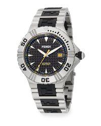 Fendi - Metallic Nautical Stainless Steel & Rubber Logo Dial Watch for Men - Lyst