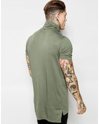ASOS | Green Super Longline T-shirt With Drapey Roll Neck And Drop Hem for Men | Lyst