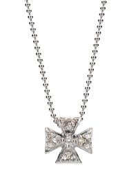 Elizabeth Showers - Metallic Mini Maltese Pave Pendant Necklace - Lyst