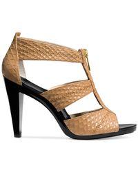 Michael Kors - Brown Cecily Leather Platform Sandals - Lyst