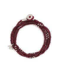 Isaia - Red 'saracino' Bead Wrap Bracelet - Lyst