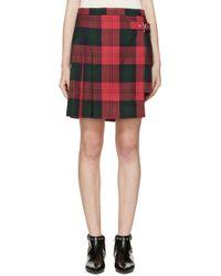 Versus | Green Asymmetric Plaid Skirt | Lyst