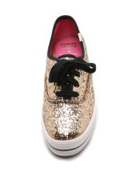 kate spade new york - Metallic Triple Kick Sneakers - Black - Lyst