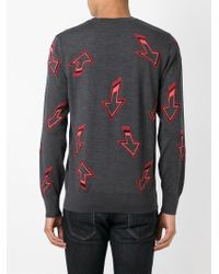 Paul Smith - Gray Arrow Motif Sweater for Men - Lyst