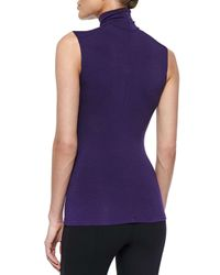 Donna Karan - Purple Sleeveless Turtleneck Jersey Top - Lyst
