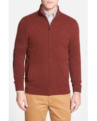 John W. Nordstrom | Brown Full Zip Cashmere Sweater With Faux Suede Elbow Patches for Men | Lyst