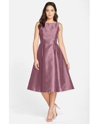 Adrianna Papell | Pink Sleeveless Mikado Fit & Flare Midi Dress | Lyst