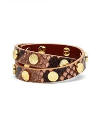 Tory Burch | Brown Snake Embossed Leather Double Wrap Logo Bracelet - Light Oak/ Shiny Gold | Lyst