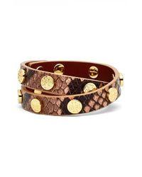 Tory Burch - Brown Snake Embossed Leather Double Wrap Logo Bracelet - Light Oak/ Shiny Gold - Lyst