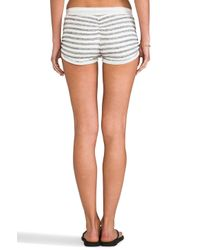 Tylie - Stripe Drawstring Rouche Shorts in Gray - Lyst