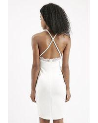 TOPSHOP - Natural Eyelash Lace Slinky Dress By Rare - Lyst