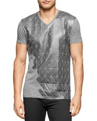 Calvin Klein | Gray Faux Leather Tee for Men | Lyst