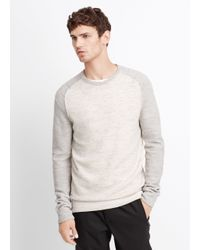 Vince | White Wool Linen Jaspé Colorblocked Crew Neck Sweater for Men | Lyst