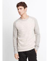 VINCE | White Wool Linen Jaspé Colorblocked Crew Neck Sweater for Men | Lyst