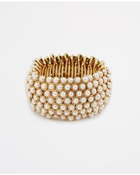 Ann Taylor | Metallic Pearlized Statement Stretch Bracelet | Lyst