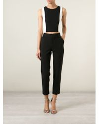 Alice + Olivia - Black Panel Crop Tank Top - Lyst