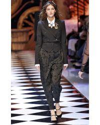 Dolce & Gabbana - Black Golden Bow Necklace - Lyst