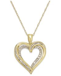 Macy's | Metallic Diamond Twist Heart Pendant Necklace In 10k Gold (1/4 Ct. T.w.) | Lyst