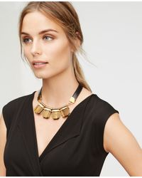 Ann Taylor | Black Hexagon Leather Necklace | Lyst