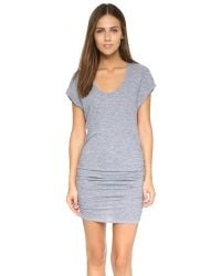 Lanston | Gray Triblend Side Ruched Dress | Lyst