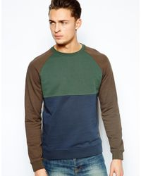 ASOS | Green Sweatshirt with Cut and Sew Panels for Men | Lyst
