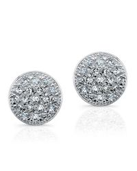 Anne Sisteron - 14kt White Gold Diamond Rounded Mini Disc Stud Earrings - Lyst