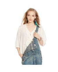 Denim & Supply Ralph Lauren - Natural Ruffled Cotton Blouse - Lyst