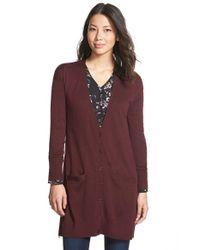 Halogen Purple Side Zip Long V-neck Cardigan