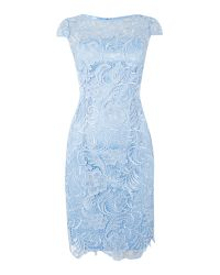 Adrianna Papell | Blue All Over Guipure Lace Dress | Lyst