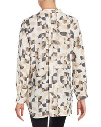 Vince Camuto - White Geo-print Blouse - Lyst