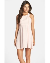 BCBGeneration - Pink Mixed Media Fit & Flare Dress - Lyst