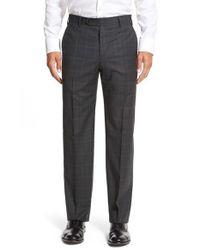 Zanella - Green 'devon' Flat Front Check Wool Trousers for Men - Lyst