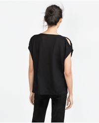Zara | Black Flowing T-shirt | Lyst