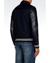 Armani Jeans - Blue Wool and Faux-Leather Bomber Jacket  for Men - Lyst