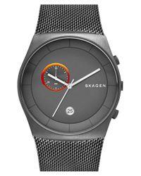 Skagen - Gray 'havene' Chronograph Mesh Strap Watch - Lyst
