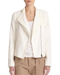 Vince - White Textured Stretch-cotton Scuba Jacket - Lyst