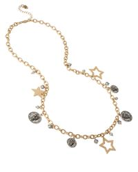 Betsey Johnson | Metallic Gold-Tone Flower And Crystal Heart Pendant Necklace | Lyst
