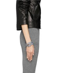 Valentino - Blue 'rockstud' Double Wrap Leather Bracelet - Lyst