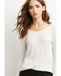 Forever 21 | White Marled Rib Knit Sweater | Lyst