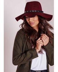Missguided | Purple Fedora Hat Metal Trim Burgundy | Lyst