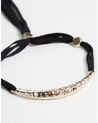 ASOS - Black Limited Edition Hammered Bar Tassel Bracelet - Lyst