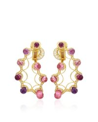 Nicholas Varney - Multicolor Pink Sapphire And Diamond Paisley Ear Clips - Lyst