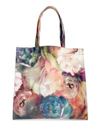 Ted Baker - Black 'large Technicolor Bloom Icon' Tote - Lyst