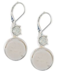 Anne Klein - Metallic Silver-tone White Stone Drop Earrings - Lyst