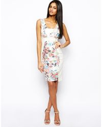 Hybrid - White Pencil Paneled Bodyconscious Dress with Plunge Neck - Lyst