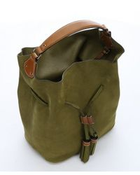 Burberry - Olive Green Suede Large 'susanna' Drawstring Shoulder Bag - Lyst