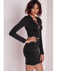Missguided | Lurex Mini Skirt Black | Lyst