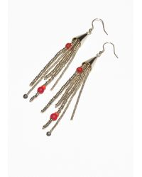 & Other Stories - Red Dangling Bead Earrings - Lyst