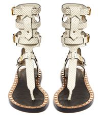 Isabel Marant - Multicolor Jeepy Studded Snake Effect Leather Sandals - Lyst