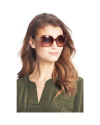 Diane von Furstenberg | Brown Zoe Chain Link Detail Oversized Sunglasses | Lyst